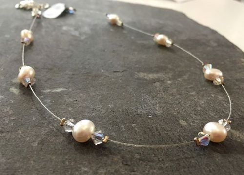 Freshwater Pearl & Swarovski Crystal Floating Necklace FN201